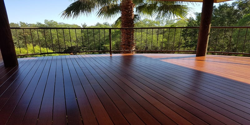 Deck sanding completed on outdoor timber floor with exterior floor finish