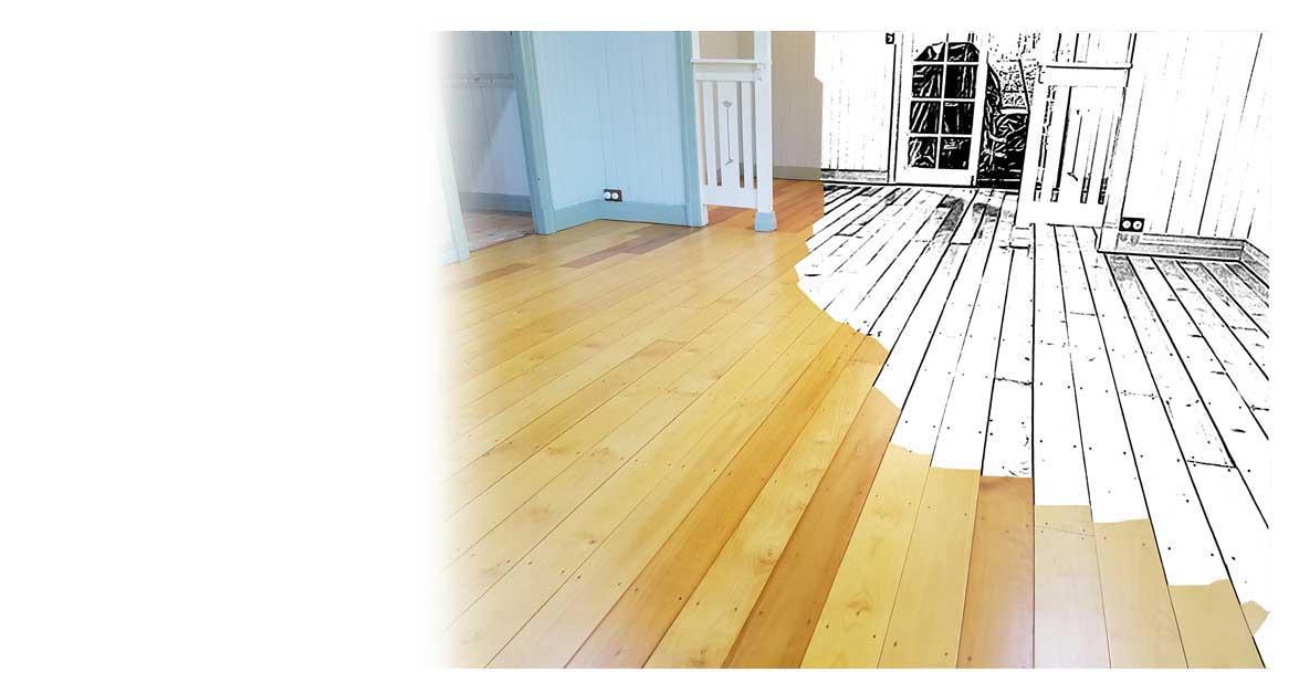 Completed floor restoration on Hoop Pine timber floor