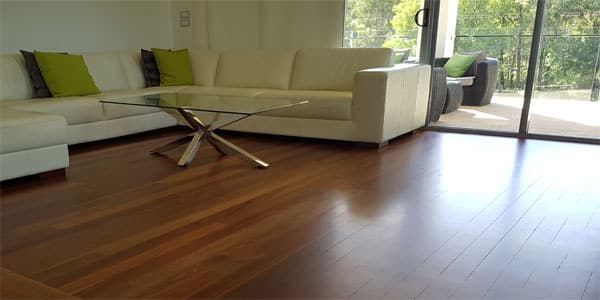 A refinished wood floor polished with water based coating