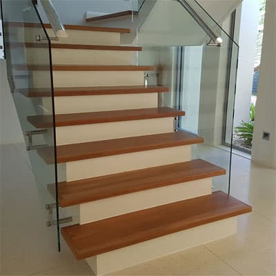 A staircase after sanding and polishing.