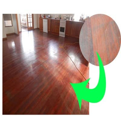 A worn polished timber floors