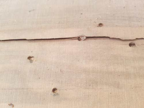 A hardwood floor showing nails punched and a splitting floorboard.