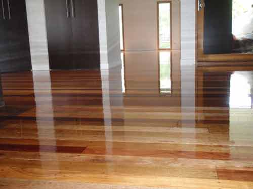 polished timber flooring in full gloss