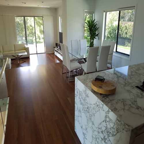 polished timber floors in dining